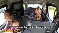 Female Fake Taxi Busty blondes hot lesbian back seat taxi fuck session