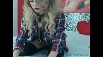 Hot blonde with butt plug tail teasing on cam pornhub video