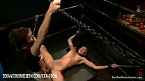 Bondage blonde babe with her legs spread wide gets strong fucking thumbnail