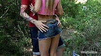 Outdoor Ass fucked blond is angry when get cum in mouth