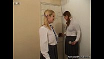 Two Schoolgirl Sluts in uniform Smoking and Wanking a Guy pornhub video