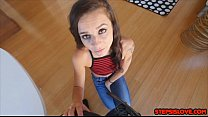 Tiny teen Kharlie Stone suck and fuck her stepbro on a dare