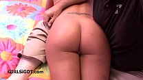 Mom gives in and gets spanked over his knee preview image