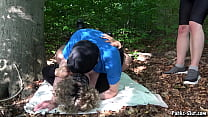 Jessica multiply creampied by 3 guys in the woods