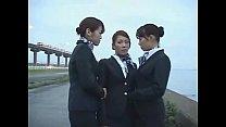 3 Japanese Lesbian Airline Stewardess Girls Kis...
