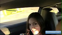 Gorgeous cutie amateur brunette Summer flash her tits in public and plays with them in the car thumbnail