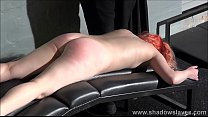 Redhead amateur spanking and tit whipping of submissive Tiny