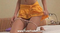 Insane thin girl in sexy skirt showing ass