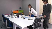 Office honey Maki's boss takes out vibrators and tunes up her nipples and pussy