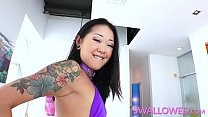 SWALLOWED Inked brunette oriental cock gobbler devours his eager willy Preview