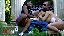 Hot interacial outdoor threesome with good squi... Thumbnail