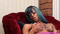 Busty ebony tgirl wanking her cock