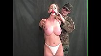 Amber Michaels Bound, Gagged, Tormented by Military Villain's Thumb