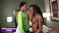 Busty black tgirl cockriding before jerking video