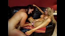 Blonde and brunette lesbian MILFs fuck with toys in bed