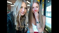 Two sexy blonde sisters gonna naked in public -...