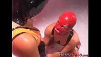 Masked lesbian bound and toyed with by mistresses