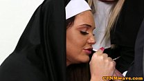 Nun Tiffany and Emma in rough cock tug