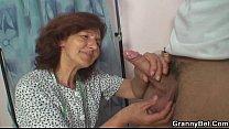 Sewing old granny rides his young cock thumbnail