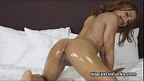 Ebony hottie on thick white cock صورة