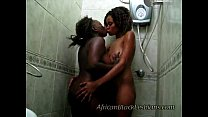 Light skinned sista Lisha fucked by dark African babe in shower