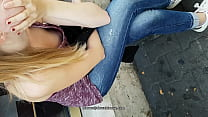 downblouse girls in street public