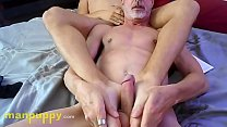 Daddy Give Gay Twink Foot Worship and Gets Footjob - Devin Jones - Richard Lennox - Manpuppy