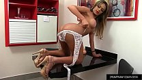 Tgirl Juliana Leal Wanks Her Stiff Cock and Cra...