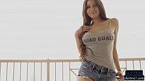 Big boobs model Elsa Galvan gets naked on a balcony