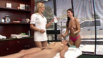 Hot blonde masseur knows how to handle her sexy clients body