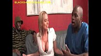 MILF Blonde Sucks Two BBC