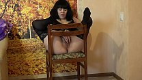 Brunette with beautiful legs in stockings masturbates on the chair hairy pussy and fucks juicy ass to anal orgasm. thumbnail