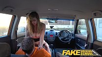 Fake Driving School 34F Boobs Bouncing in driving lesson preview image