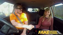 Fake Driving School 34F Boobs Bouncing in driving lesson thumbnail