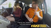 Fake Driving School 34F Boobs Bouncing in driving lesson Image