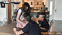 Twin brothers blackmail step sister to fuck her - taboo family sex