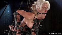 Blonde Milf brutal tormented in device bondage