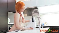 Sheryl X - Redhead girl sexually eating watermelon and playing with a toy