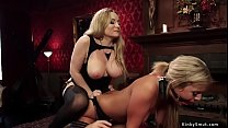 Busty lesbian dom whips hot slaves