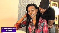 Black tgirl cockriding while jerking video