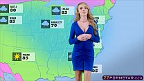 Busty Weather Chick Gets Fucked Live On A TV St