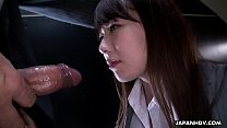 Slutty Japanese chick Yui Hatano blows hard hairy fuck stick