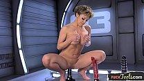 Hugetits MILF dildo stuffed by sex machine porn image