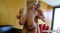 Blonde MILF slaps his Cock around thumb