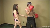 A Topless Teen Jerks Off A Boxer