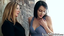 Dyke MILF makes stepdaughter relax by licking her snatch