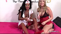 Two sexy nurses licking cream from pussy preview image