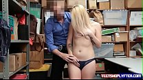 Cute teen blonde thief stripped naked and boned by security guard