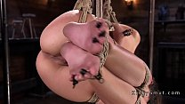 Tattooed slave gets choked and fisted video