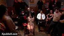 Zippered tied up babe throat fucked in public bar
